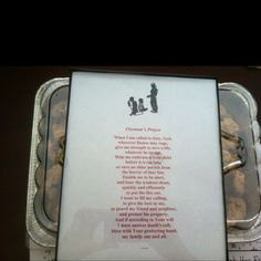 Print a Fireman's Prayer with some clip art...add a frame...bake some homemade chocolate chip cookies...and take to thank your local firefighters with your Sunday School kids. Our kids loved it this morning!:)