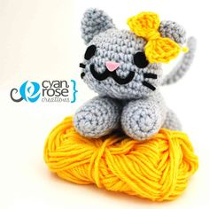 Alice an adorable amigurumi cat  -Crochet by CyanRoseCreations, $26.00