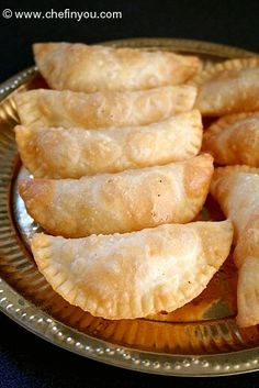 Call it Karanji, Karchikai or Kajjikayalu - it would taste just as delicious with a crispy outer covering and a sweet coconut filling. Though it keeps well for weeks, don't count on it 'cos it might get over in just one day! Indian Dessert Recipes, Indian Sweets, Indian Snacks, Sweets Recipes, Snack Recipes, Cooking Recipes, Indian Foods, Indian Recipes, Diwali Snacks