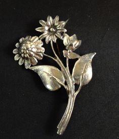 """Vintage Sterling Silver Sunflower Daffodil Floral 3"""" Brooch Pin--Estate #Unbranded"""