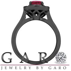 Ruby And Black Diamonds Engagement Ring 14K Black Gold Vintage Style 1.10 Carat Certified Pave Set Halo Handmade Unique