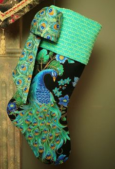 peacock Christmas stocking