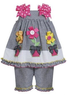 Bonnie Jean Girls Black Seersucker Flower Pot Spring Summer Capri Set New in Clothing, Shoes & Accessories Cute Baby Girl Outfits, Cute Baby Clothes, Little Girl Dresses, Toddler Outfits, Kids Outfits, Girls Dresses, Baby Girl Fashion, Fashion Kids, Toddler Pants