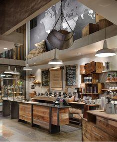 Modern starbucks coffee shop and tea store interior design, detail visit ar Design Café, Deco Design, Cafe Design, Store Design, Design Ideas, Design Shop, Rustic Design, Modern Design, Lobby Design