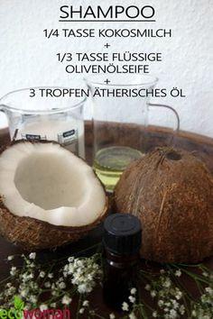 #DIY Shampoo aus Kokosmilch Olivenöl und ätherische Öle #Kokosshampoo #Naturkosmetik #Shampooselbermachen