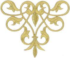 Fleur De Lis Abstract Design - Gold Metallic Applique Patch - Style B #Unbranded