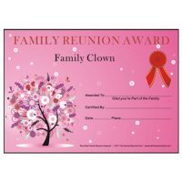 free printable family reunion certificates - Google Search