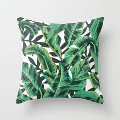 Buy Tropical Glam Banana Leaf Print Throw Pillow by Nikki. Worldwide shipping available at Society6.com. Just one of millions of high quality products available.