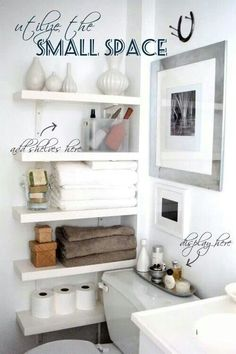 Awsome wall shelves for small bathroom storage design ideas. - SHW Home Decor Small bathroom storage is important for keeping your bathroom stay clean and tidy. If you have a small bathroom you are most likely in need of some bathroom Decor, Home Diy, Small Spaces, Small Bathroom Organization, Home Organization, Interior, Home Decor, House Interior, Home Deco