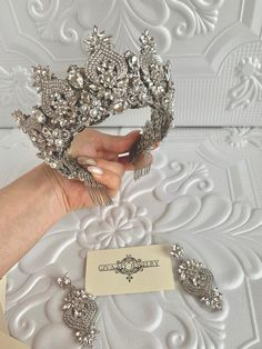 likes Silver crystal crown~Silver wedding crown~Crystal brides earrings~Crystal tiara~Silver bridal diadem Silver Wedding Crowns, Wedding Tiaras, Bridal Crown, Bridal Tiara, Headpiece Wedding, Bridal Headpieces, Bridal Hair Accessories, Bridal Jewelry, Bride Earrings