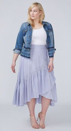 Loving the ruffles!! Plus Size Faux Wrap Skirt - Plus Size Fashion for Women #plussize#plussizeoutfits