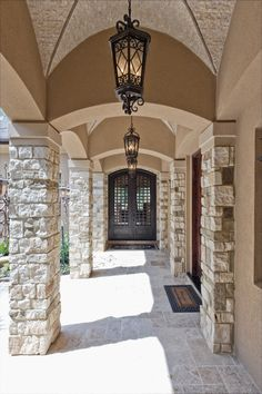 : Glamorous Home Entrance Area Maximized With Old Fashioned Outdoor Pendant Lighting Attached Along The Ceiling