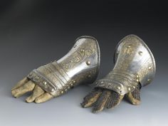 Boy's gauntlet of engraved steel, damascened in gold: Italian, century. 16th Century, Precious Metals, Armour, Ivory, Ceramics, Sculpture, Steel, Gold, Leather