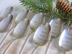 Night before Christmas spoon set on Etsy. This could make for a fun tradition while eating Christmas Eve dessert!