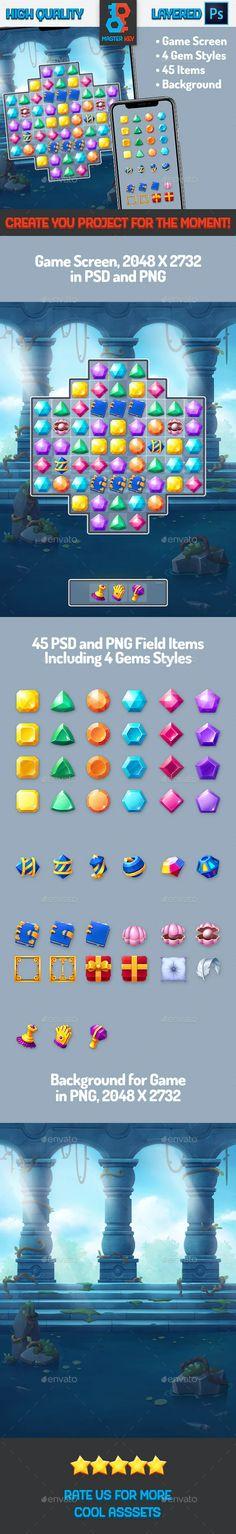 Mini Gems Match Game by Master_Key | GraphicRiver Game Gui, Master Key, Game Background, Match 3, Retina Display, Matching Games, Colorful Fashion, Gems, Mini