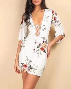 White Plunge Lace Up Front Floral Print Mini Dress Midi Dress Sale, Tee Dress, Satin Dresses, Floral Maxi Dress, Fit Flare Dress, Skirt Set, Floral Tops, Mini, Deep