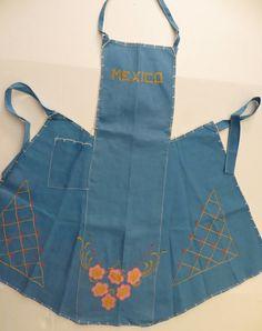 Vintage Blue Linen Souvenir Apron from Mexico. By TomCatBazaar, etsy
