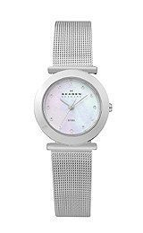Skagen Women's 107SSSMP Denmark Silver Mesh Watch Skagen. $54.80. A subtle pop of color takes place on the white mother-of-pearl dial. Indicators made with crystallized - swarovski elements. Signature skagen steel mesh bracelet; Three hand movement. Stainless steel case. Water-resistant to 99 feet (30 M). Save 42% Off!