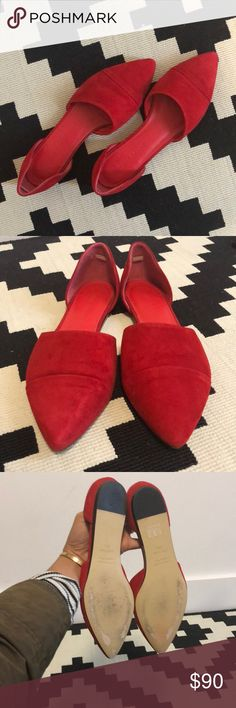 Red Suede Jenni Kayne D'Orsay Flats These are gorgeous shoes that will make a bold statement with anything you wear. The pointed toe looks lovely with jeans or dresses. Was so excited to receive these but they're a tad too tight for me. They are EU size 39.5, but would better fit a size 9 (I typically wear a size 9.5 / EU 40). These are in excellent used condition, no signs of wear except to the soles. Jenni Kayne Shoes Flats & Loafers