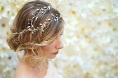 Iris by Happily Ever Headwear Silver Headband, Beads And Wire, Davids Bridal, Crystal Rhinestone, Iris, Tulle, Fancy, Elegant, Hair Styles