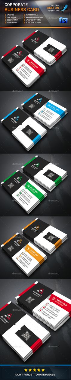 Modern Corporate Business Card  -  PSD Template • Download ➝…