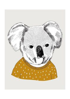 DEAPAPA -Koala print  8 x 115  A4 by depeapa on Etsy, $27.00. I absolutely love this. I want to frame it and make an eccletic art wall in my house.