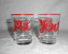 """Red Rim """"Me"""" & """"You"""" Shot / Cocktail Glasses by WeBGlass on Etsy"""