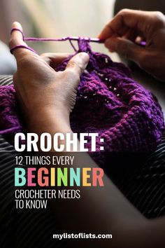 Learn how to crochet with these tips and tricks. If you're just picking up crochet as a beginner, you need to know these 12 things before getting started. Learn the ropes before diving into the world of crochet! Crochet Stitches For Beginners, Beginner Knitting Projects, Crochet Basics, Knitting For Beginners, Beginner Crochet, Knitting Ideas, Knitting Patterns, Crochet Patterns, Crochet Tutorials