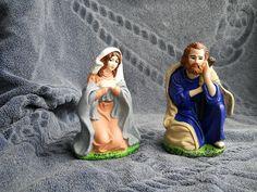 pastori in terracotta colorata e verniciata ( Giuseppe e Maria ) h 15 cm