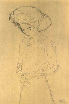 Gustav Klimt – Herabblickender Mädchen
