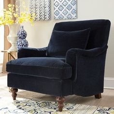 Accent+Seating+Upholstered+Chair+with+Exposed+Turned+Legs+and+Attached+Back