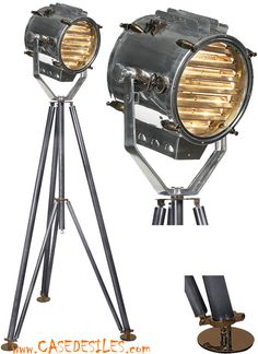 lampe phare et lampe trepied au meilleur prix lampe projecteur marine 1930 sur tr pied sl048. Black Bedroom Furniture Sets. Home Design Ideas