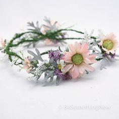 Wedding flower crown, floral wreath in pink and lilac, flower wedding head piece