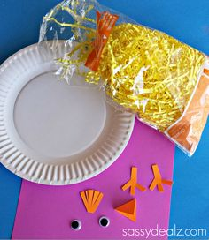 Paper Plate Chick Craft Using Easter Grass - Crafty Morning