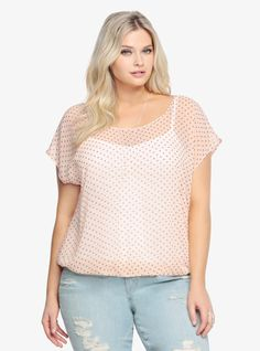 Polka Dot Chiffon Bow Top | Torrid