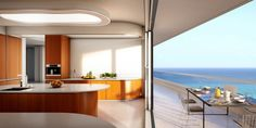 Modern Beachside Penthouse with Beautiful Sun Spot: Sleek Curved Dining Furniture Made Of Wood Completed With Stylish Ceiling Lamps And Conn...