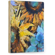 Sunflowers by Artist Carol Schiff Wood Sign