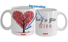 Love Personalized Mug - Valentine Love Tree with Love Names - 11 oz Gift Mug