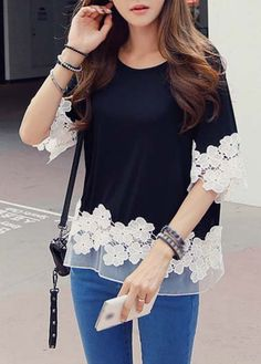 Fashionable Half Sleeve Lace Splicing T Shirt Black - USD $15.28