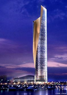 Al Hamra Tower, Kuwait City, 412.6 m, completion-2011, architect design-Skidmore, Owings & Merrill