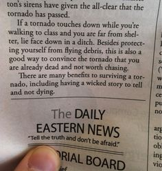 College newspaper offers extremely unconventional tornado preparation advice.