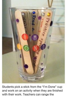 Popsicle cup.  Great idea for homework too.  Kids get to choose which topic they study.  Start again the next week.