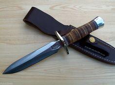 RBH CUSTOM MADE MODEL 2 - 6 DAGGER KNIFE STACKED LEATHER HANDLE- RICK HENN #RBH