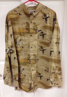 Mens Columbia Sportswear River Lodge Duck Hunting Button Front Shirt size XL EUC #Columbia #ButtonFront