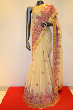 Stylish Party Wear Cream Georgette Embroidery Silk Saree Product Code: AB206133 Online Shopping: http://www.janardhanasilk.com/index.php?route=product/product&search=AB206133&description=true&product_id=3540