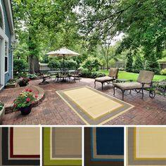 Hand-Hooked Bordered Indoor/Outdoor Polypropylene Rug (9' x 12') (Grey-(9' x 12')), Grey, Size 9' x 12'
