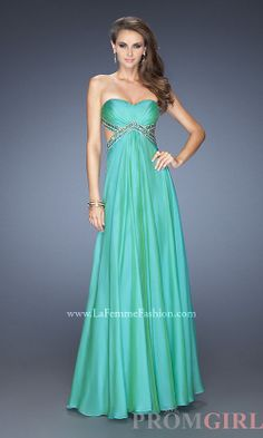 La Femme Sexy Long Open Back Gown with Side Cut Outs - #prom #dresses #gowns