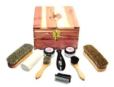 Cedar Shoe Shine Kit - Gift Set - Great for Leather Shoes - Comes with Brushes, Polishes, Storage Box and Cloths, http://www.amazon.com/dp/B00PTQE2WW/ref=cm_sw_r_pi_awdm_4Rhbvb05N8TD4