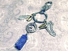 DOCTOR WHO 10th Doctor Keychain with SIX Charms - Custom Orders Welcome