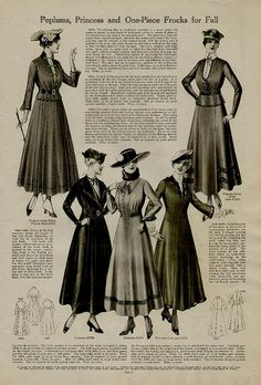 1910 Peplums, Princess and One-Piece Frocks for Fall